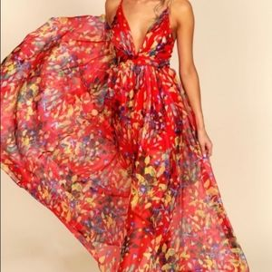 NWT Vici / Luxxel Red Floral Formal Maxi Dress